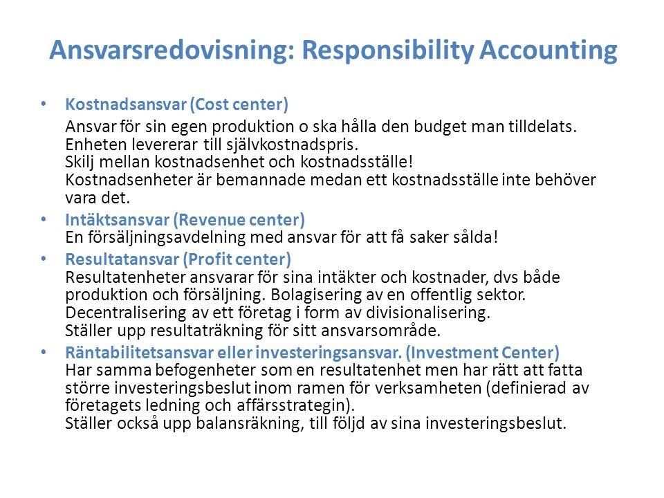 Ansvarsredovisning: Responsibility Accounting