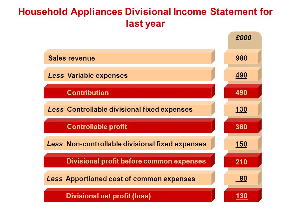 Household Appliances Divisional Income Statement for last year
