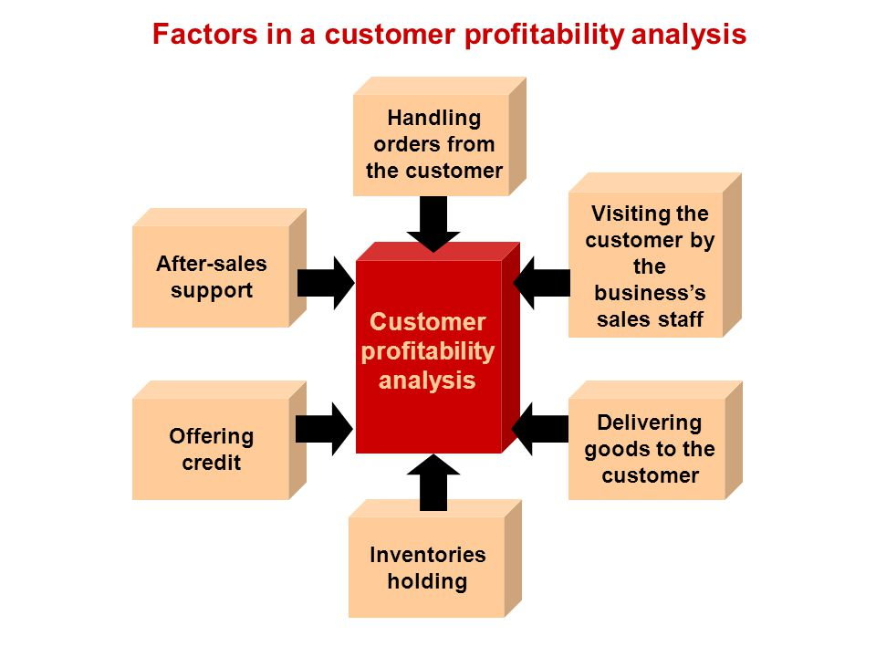 Factors in a customer profitability analysis