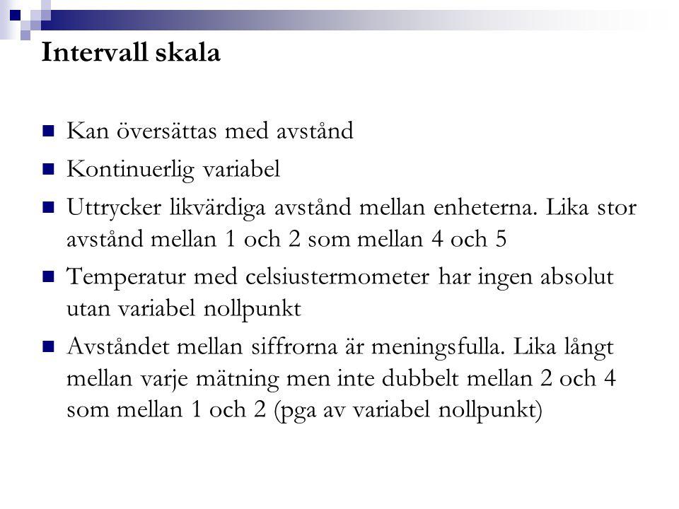 Intervall skala Kan översättas med avstånd Kontinuerlig variabel