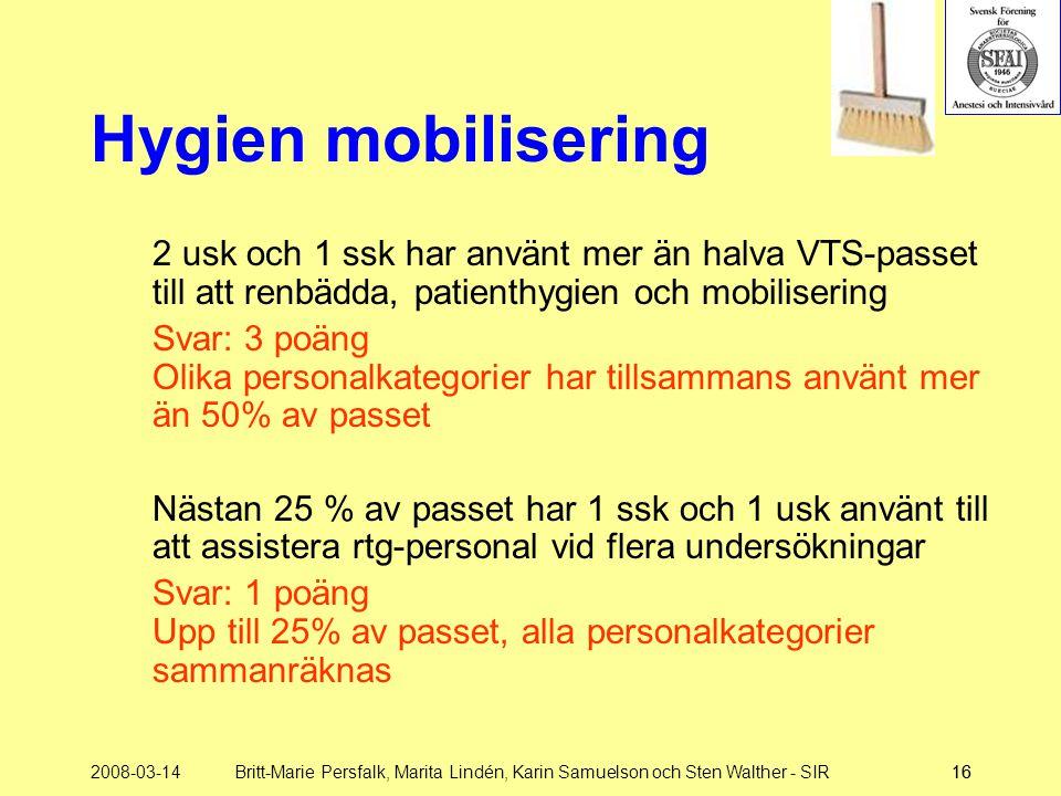 Hygien mobilisering 2 usk och 1 ssk har använt mer än halva VTS-passet till att renbädda, patienthygien och mobilisering.