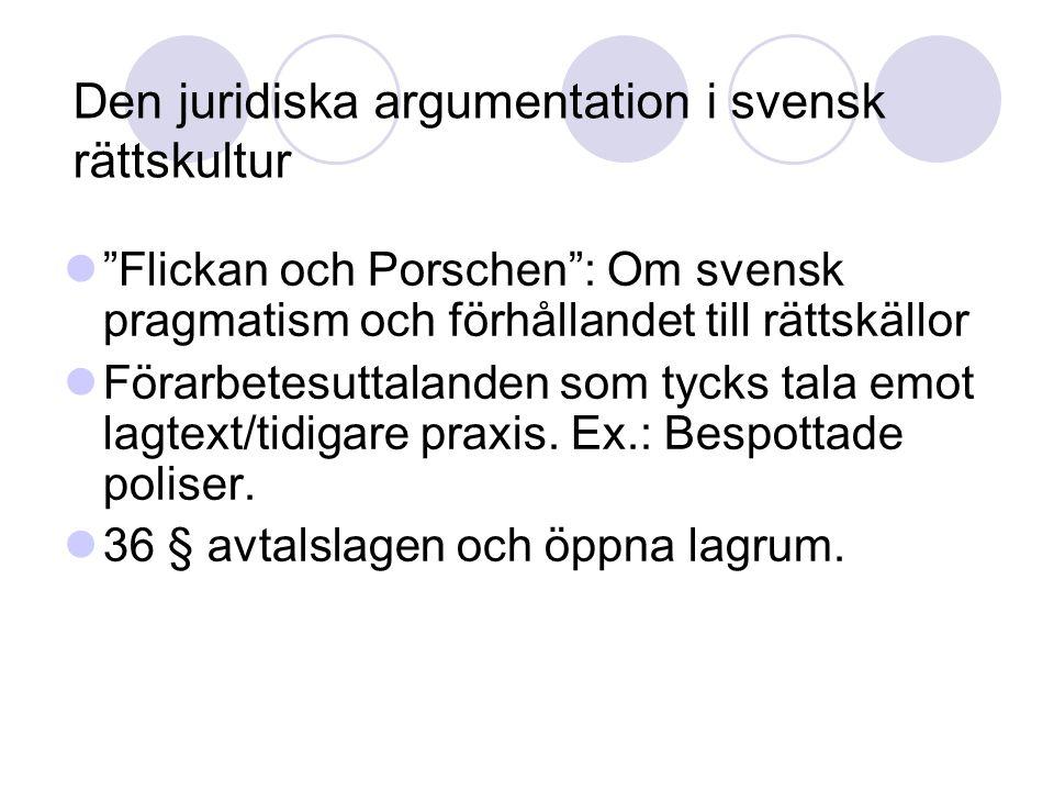 Den juridiska argumentation i svensk rättskultur