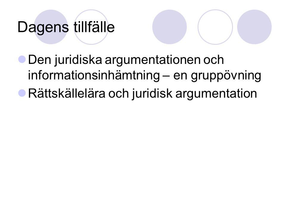 Dagens tillfälle Den juridiska argumentationen och informationsinhämtning – en gruppövning.
