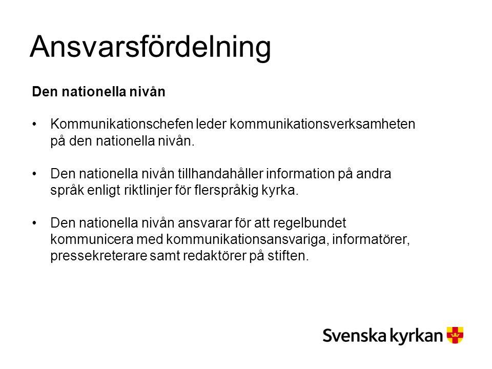 Ansvarsfördelning Den nationella nivån