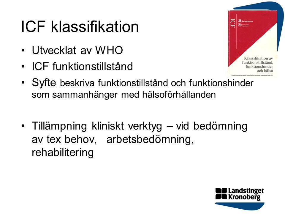 ICF klassifikation Utvecklat av WHO ICF funktionstillstånd