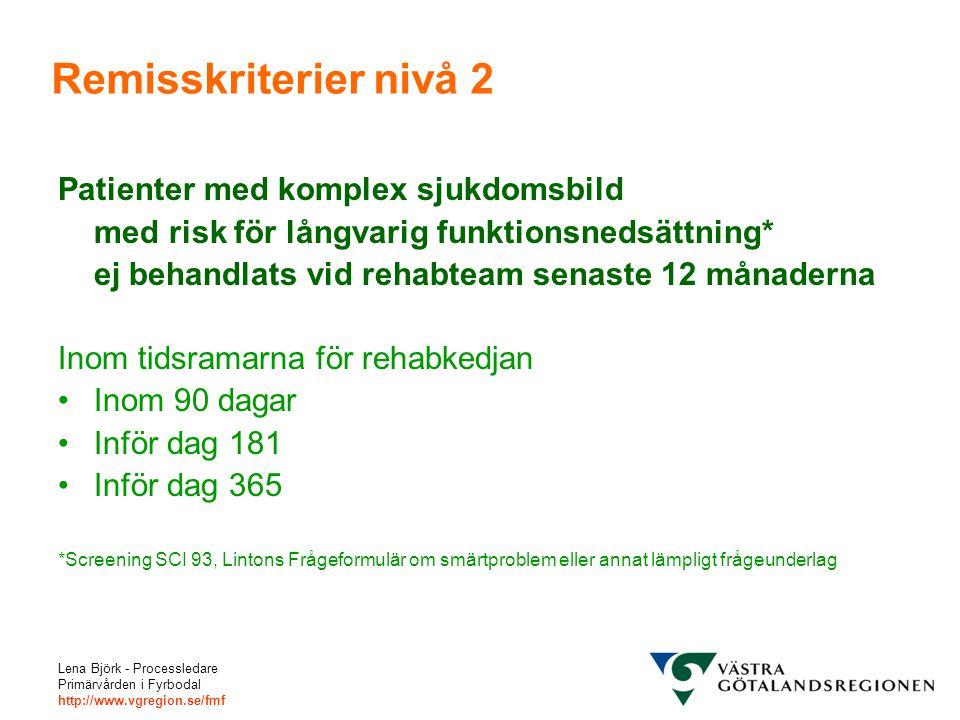 Remisskriterier nivå 2 Patienter med komplex sjukdomsbild