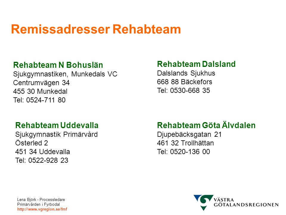 Remissadresser Rehabteam