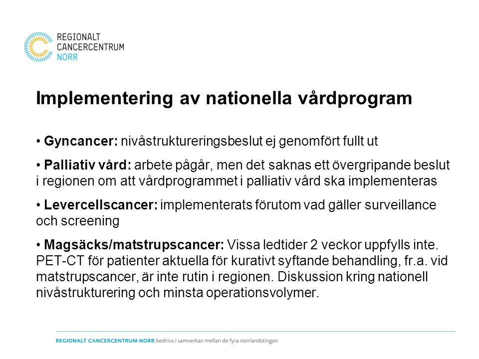 Implementering av nationella vårdprogram