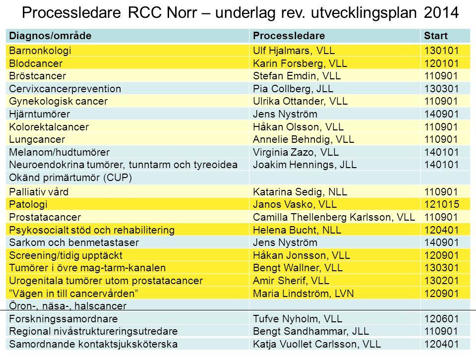 Processledare RCC Norr – underlag rev. utvecklingsplan 2014