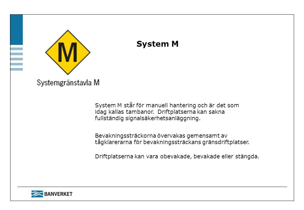 System M System M står för manuell hantering och är det som idag kallas tambanor. Driftplatserna kan sakna fullständig signalsäkerhetsanläggning.