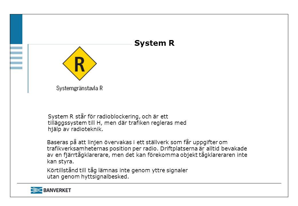 System R System R står för radioblockering, och är ett tilläggssystem till H, men där trafiken regleras med hjälp av radioteknik.