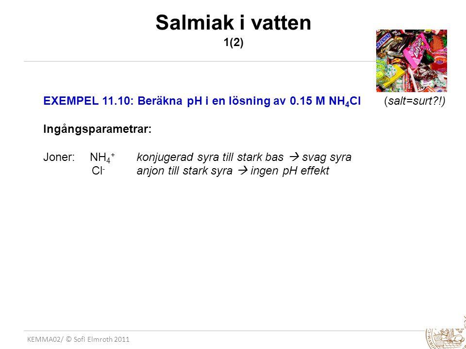 Salmiak i vatten 1(2) EXEMPEL 11.10: Beräkna pH i en lösning av 0.15 M NH4Cl (salt=surt !) Ingångsparametrar: