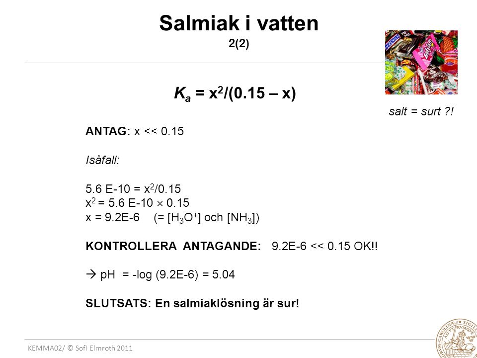Salmiak i vatten 2(2) Ka = x2/(0.15 – x) salt = surt !