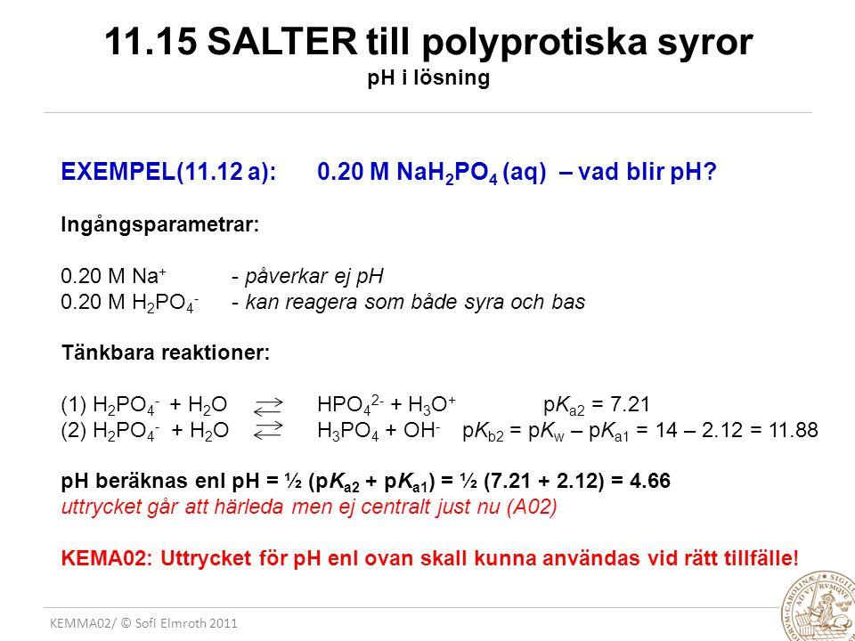 11.15 SALTER till polyprotiska syror pH i lösning