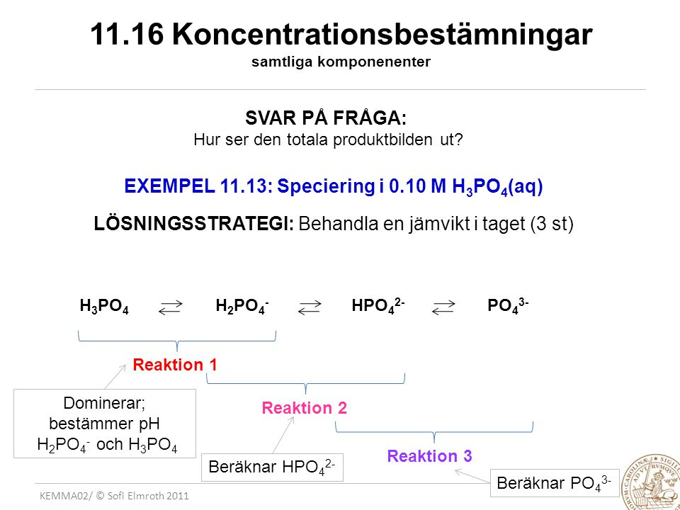 11.16 Koncentrationsbestämningar samtliga komponenenter