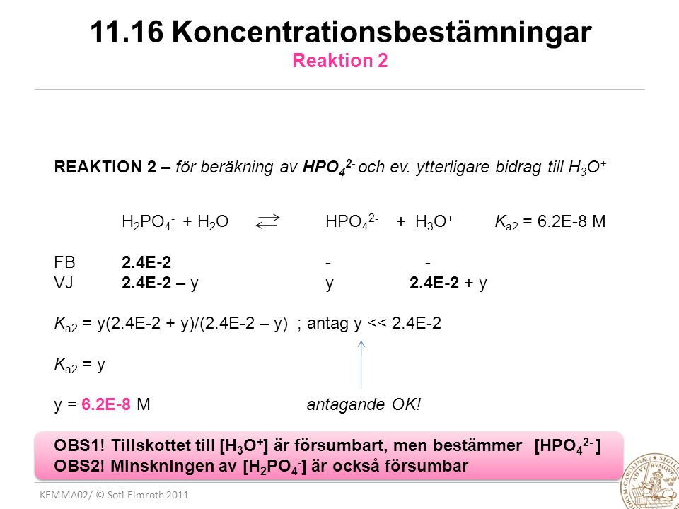11.16 Koncentrationsbestämningar Reaktion 2