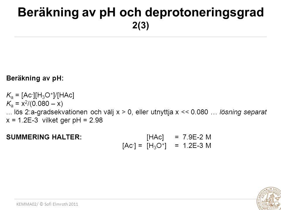 Beräkning av pH och deprotoneringsgrad 2(3)