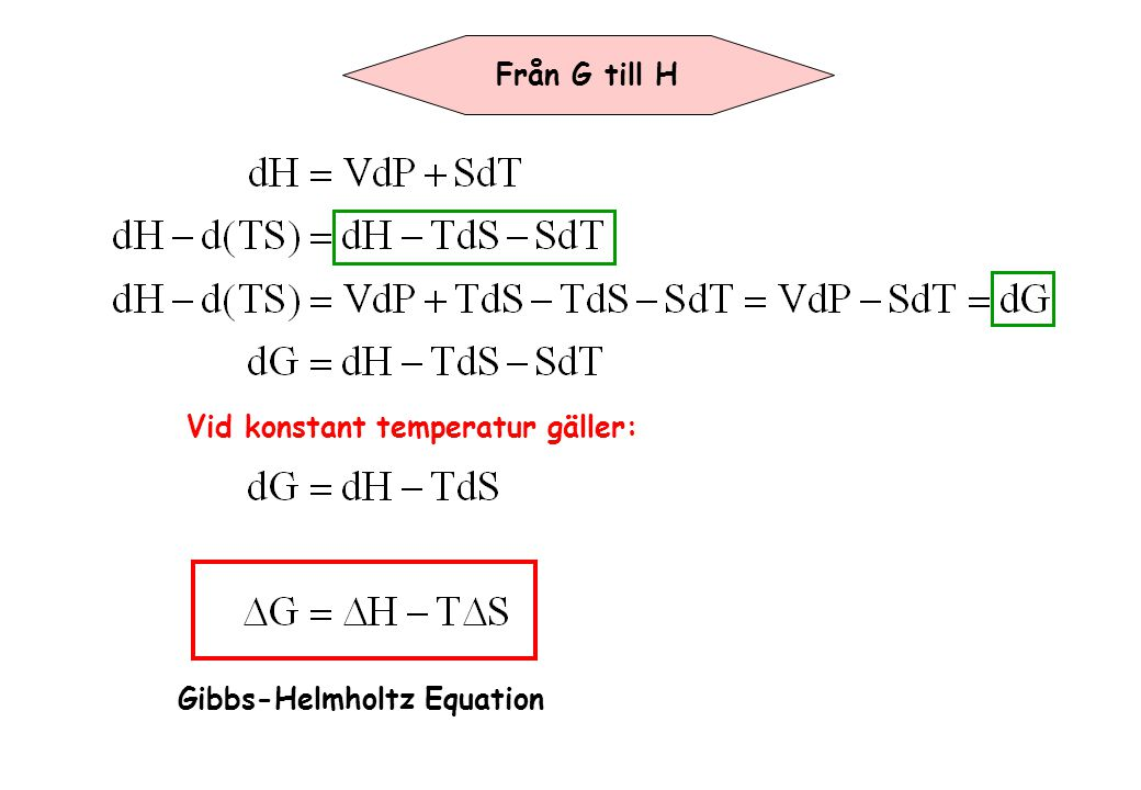 Från G till H Vid konstant temperatur gäller: Gibbs-Helmholtz Equation