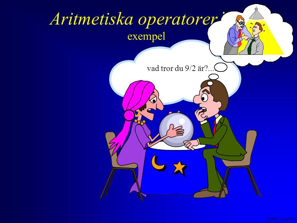 Aritmetiska operatorer i C exempel