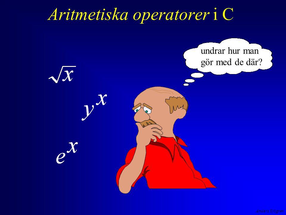 Aritmetiska operatorer i C