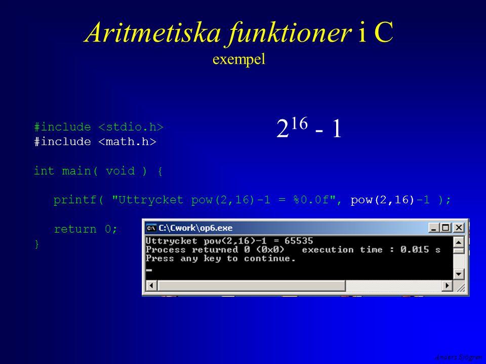 Aritmetiska funktioner i C exempel