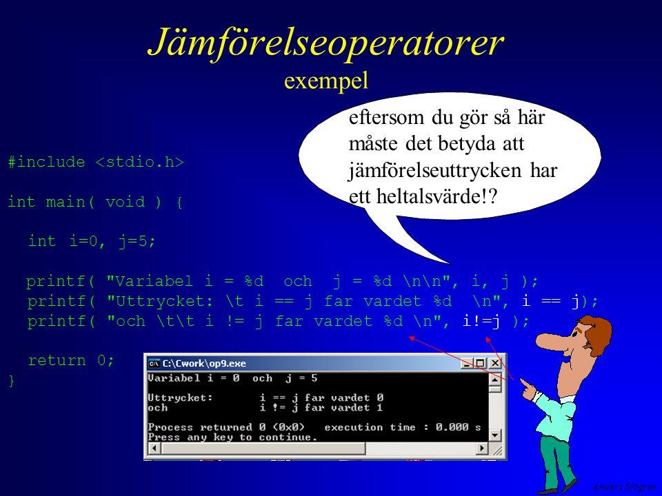Jämförelseoperatorer exempel