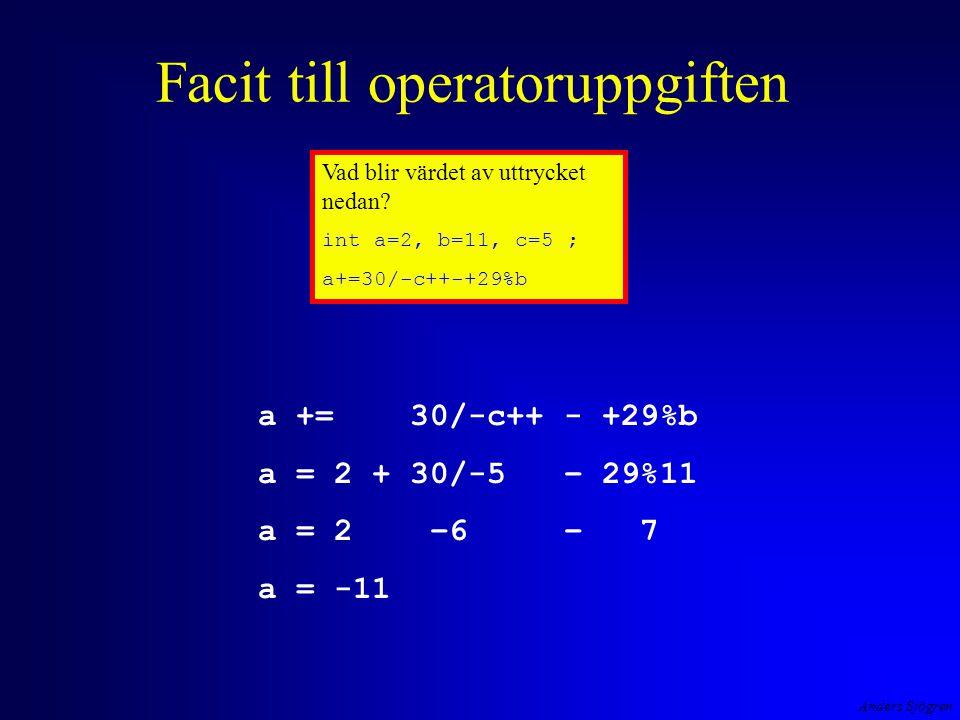 Facit till operatoruppgiften