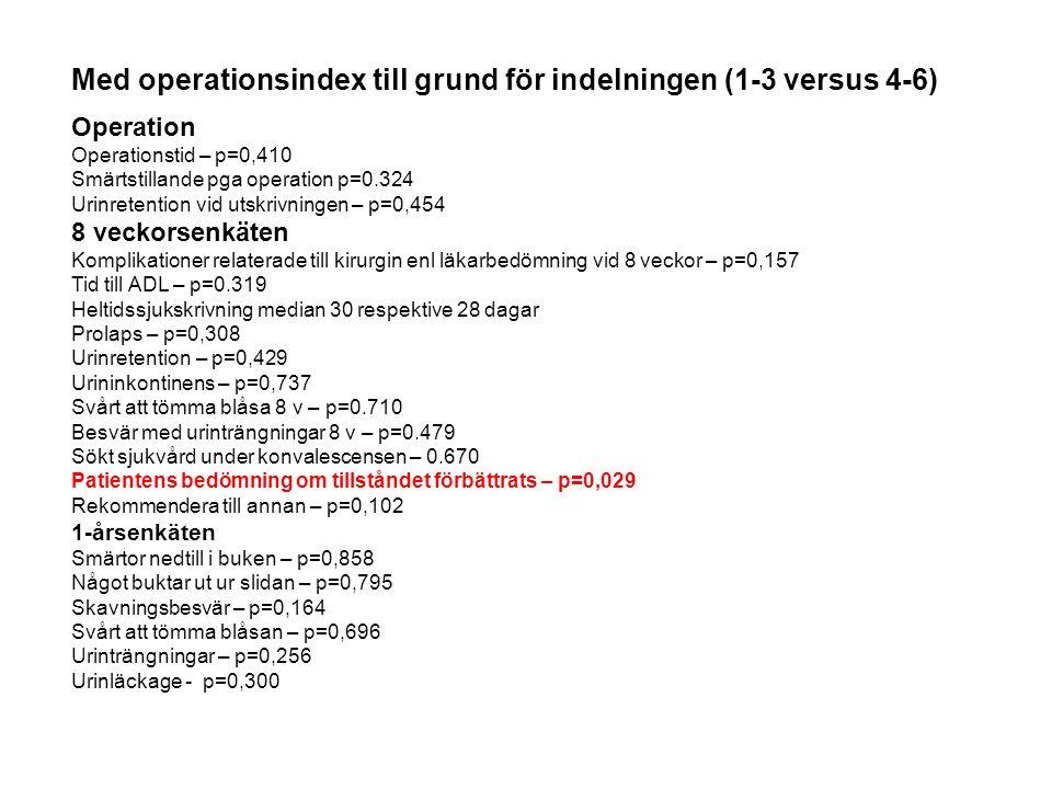 Med operationsindex till grund för indelningen (1-3 versus 4-6)