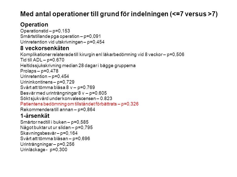 Med antal operationer till grund för indelningen (<=7 versus >7)