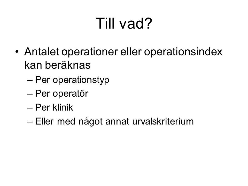 Till vad Antalet operationer eller operationsindex kan beräknas