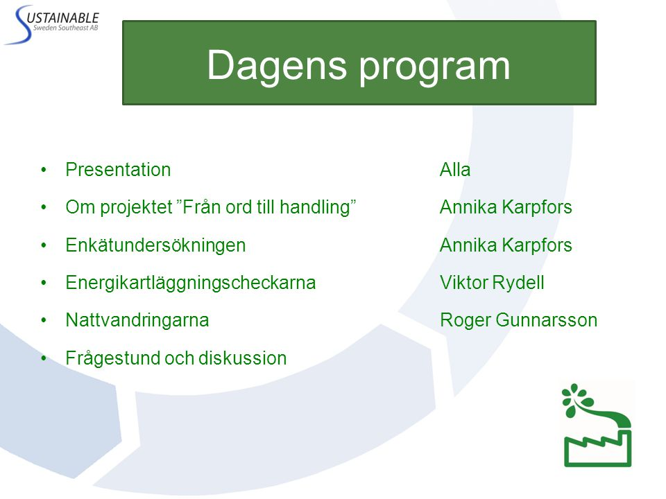 Dagens program Presentation Alla