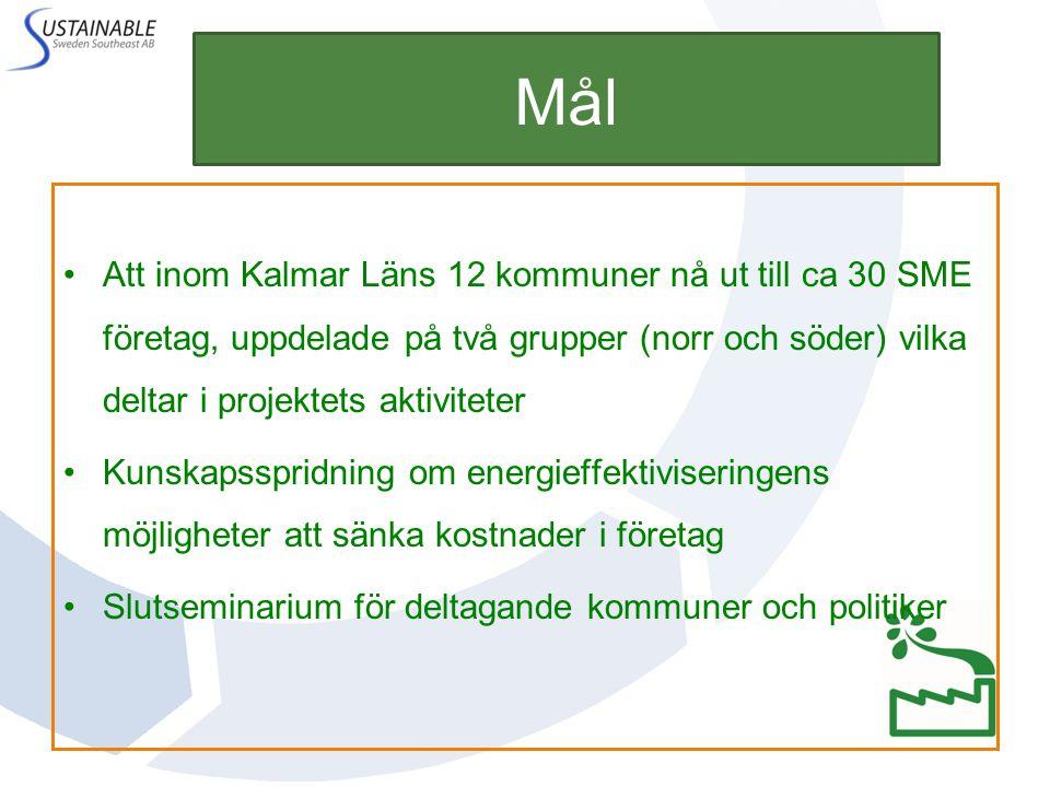 Mål Att inom Kalmar Läns 12 kommuner nå ut till ca 30 SME företag, uppdelade på två grupper (norr och söder) vilka deltar i projektets aktiviteter.