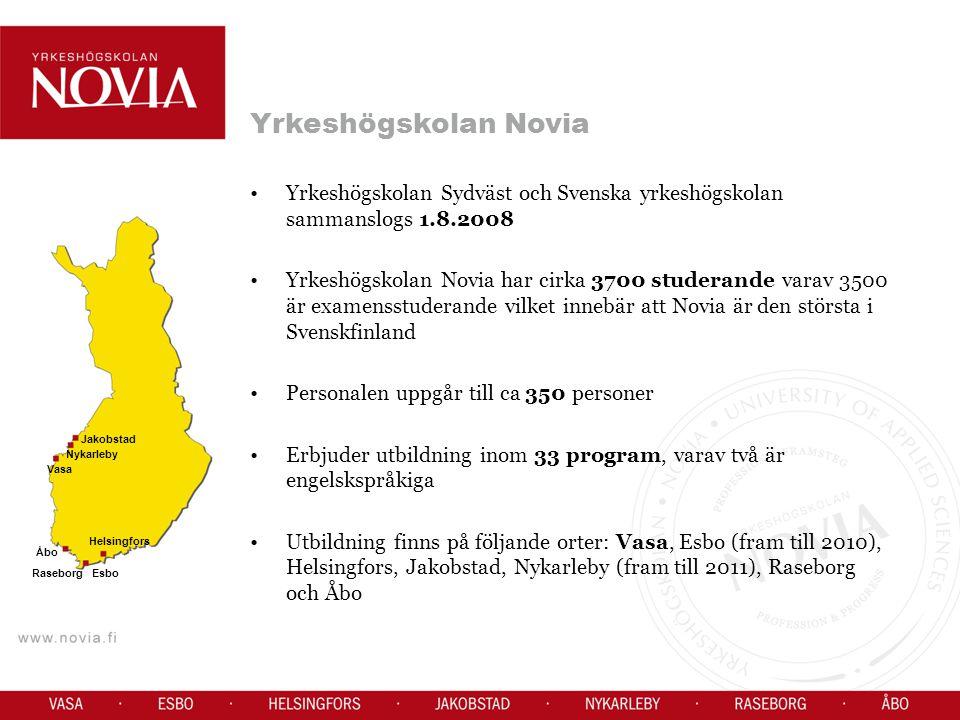 Yrkeshögskolan Novia Yrkeshögskolan Sydväst och Svenska yrkeshögskolan sammanslogs 1.8.2008.