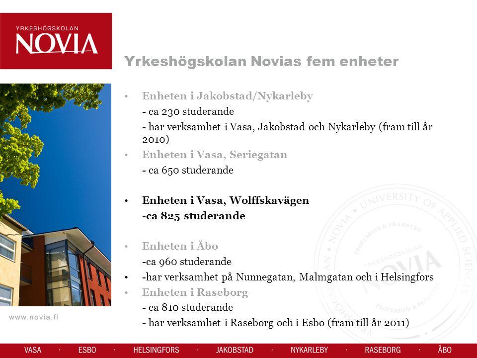 Yrkeshögskolan Novias fem enheter