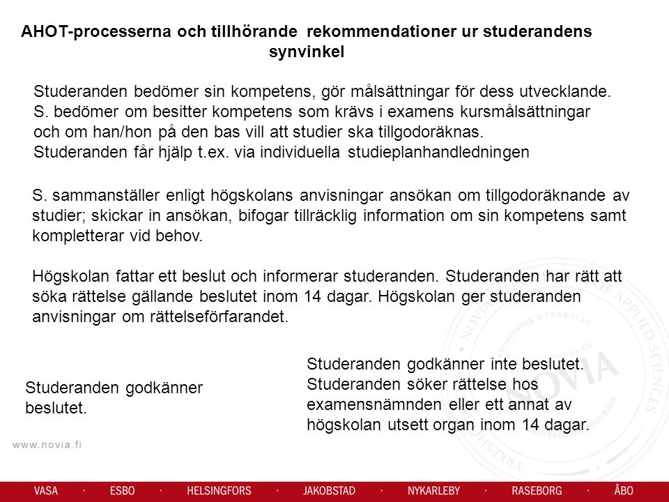 AHOT-processerna och tillhörande rekommendationer ur studerandens synvinkel