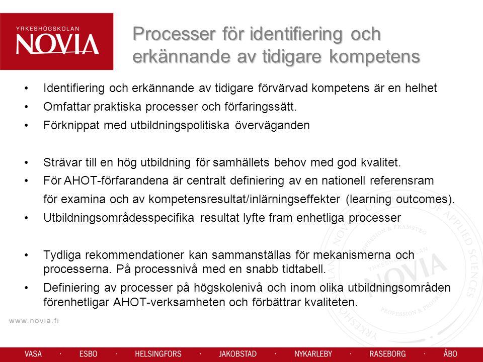Processer för identifiering och erkännande av tidigare kompetens