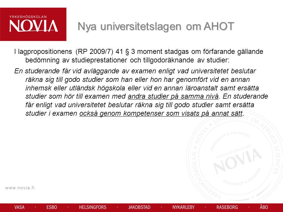 Nya universitetslagen om AHOT