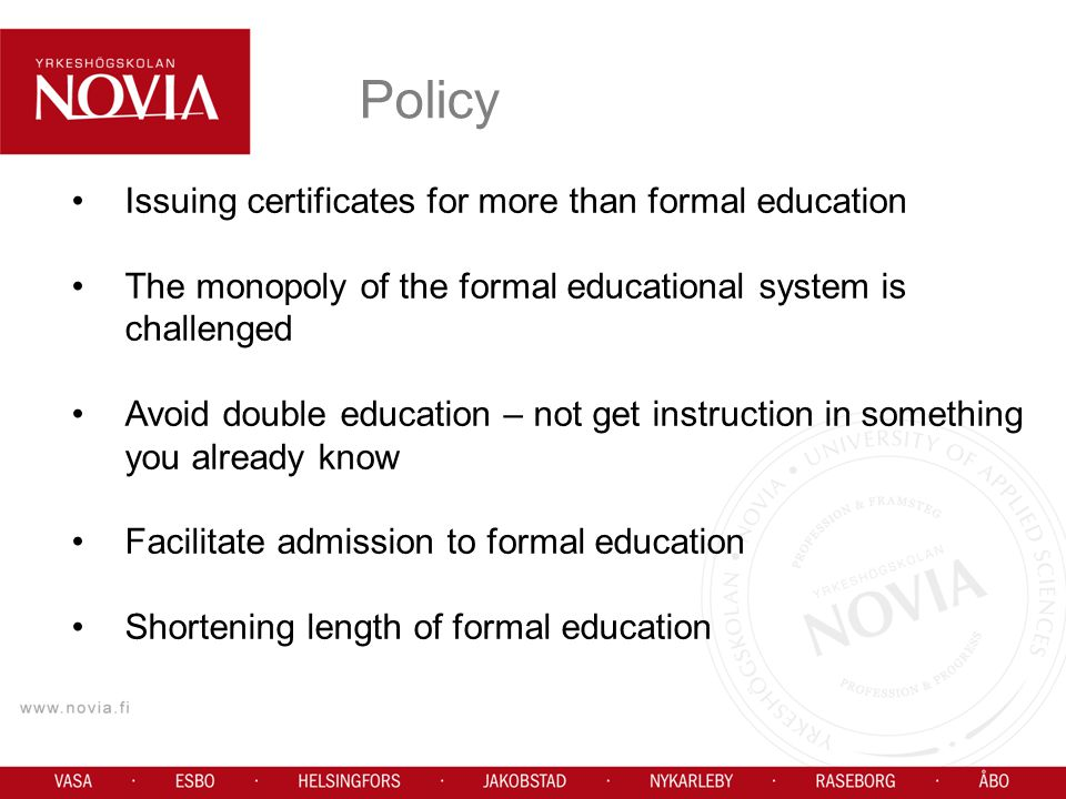 Policy Issuing certificates for more than formal education