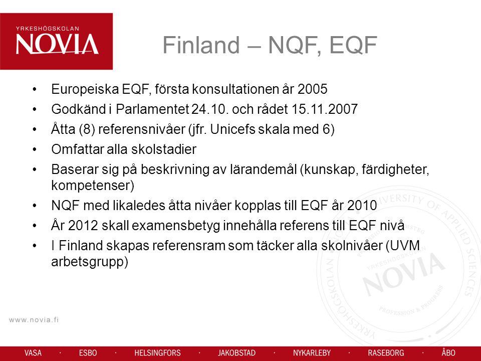 Finland – NQF, EQF Europeiska EQF, första konsultationen år 2005