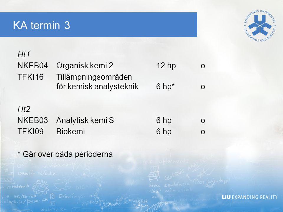KA termin 3 Ht1 NKEB04 Organisk kemi 2 12 hp o