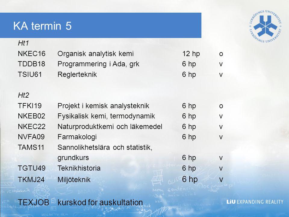 KA termin 5 TEXJOB kurskod för auskultation Ht1