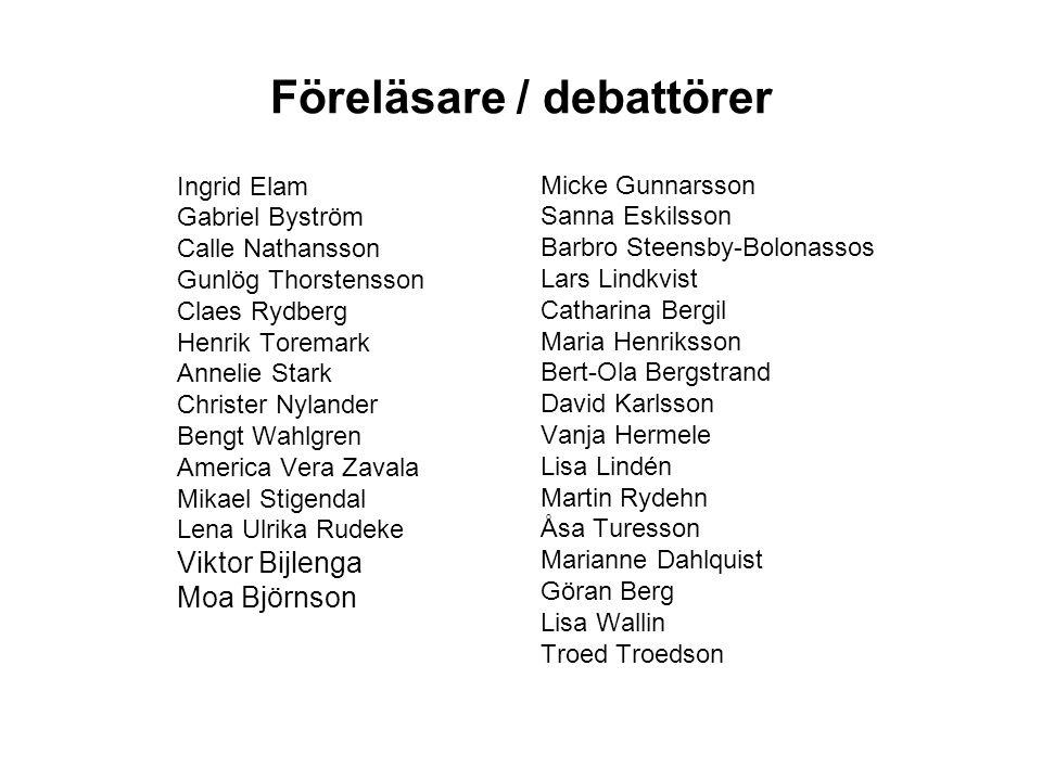 Föreläsare / debattörer