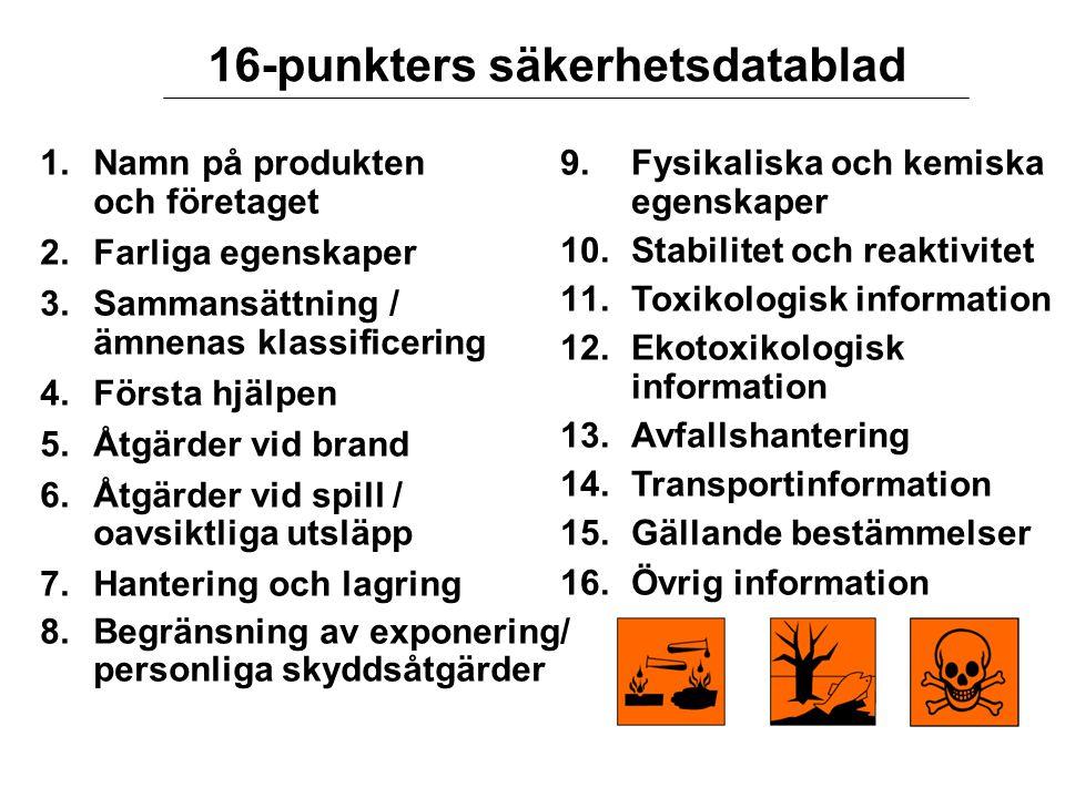 16-punkters säkerhetsdatablad