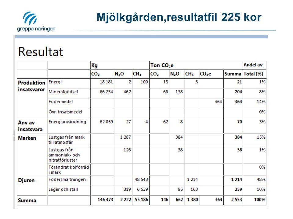 Mjölkgården,resultatfil 225 kor