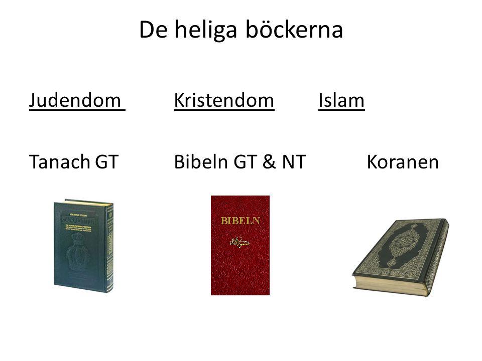 De heliga böckerna Judendom Kristendom Islam Tanach GT Bibeln GT & NT Koranen