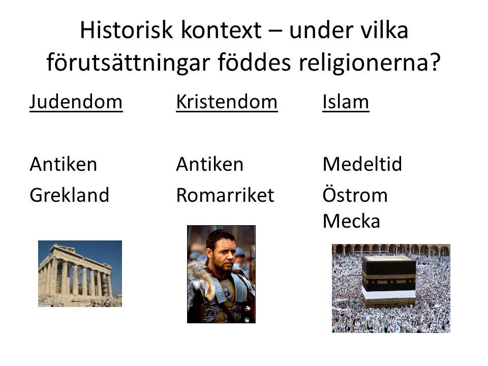 Historisk kontext – under vilka förutsättningar föddes religionerna