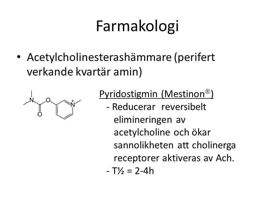 Farmakologi Acetylcholinesterashämmare (perifert verkande kvartär amin) Pyridostigmin (Mestinon) - Reducerar reversibelt.