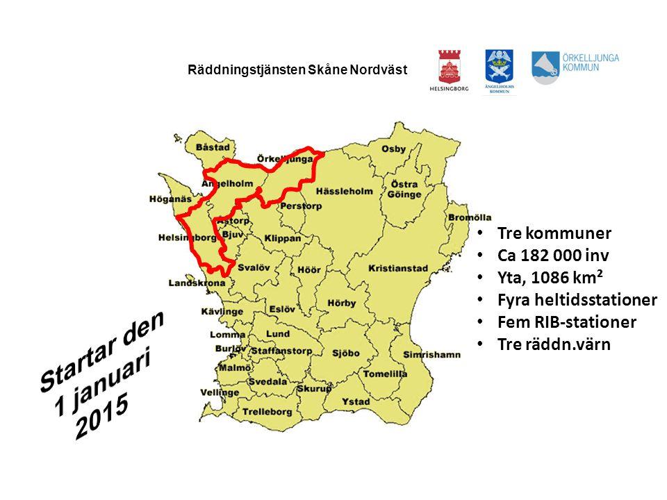 Startar den 1 januari 2015 Tre kommuner Ca 182 000 inv Yta, 1086 km²
