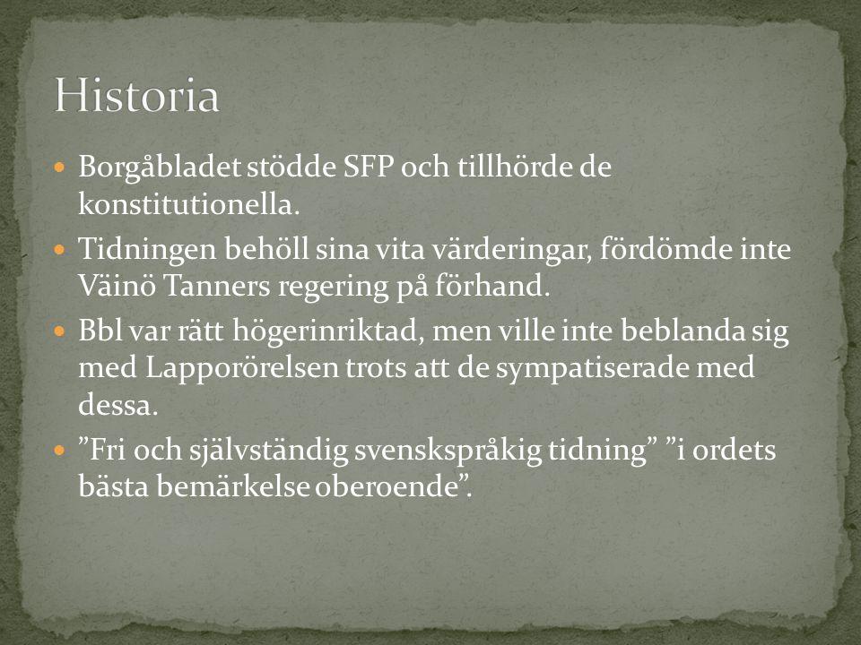 Historia Borgåbladet stödde SFP och tillhörde de konstitutionella.