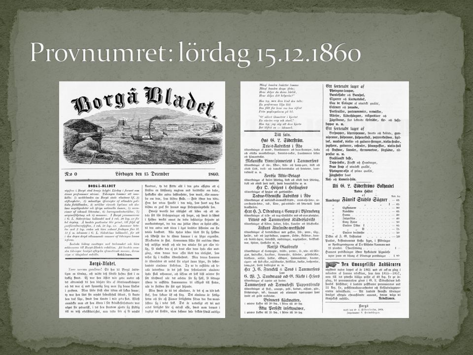 Provnumret: lördag 15.12.1860
